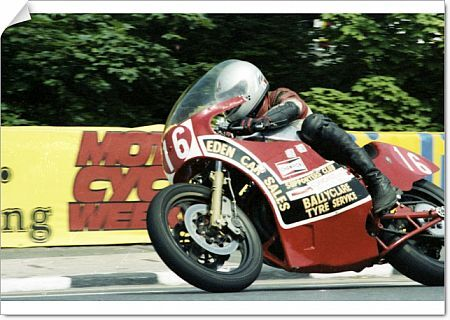 Sam McClements (Suzuki) at Quarter Bridge: 1982 Formula One TT