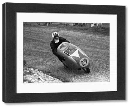 1957 Lightweight TT winner Cecil Sandford (Mondial) at Cronk y Garroo on the Clypse Course