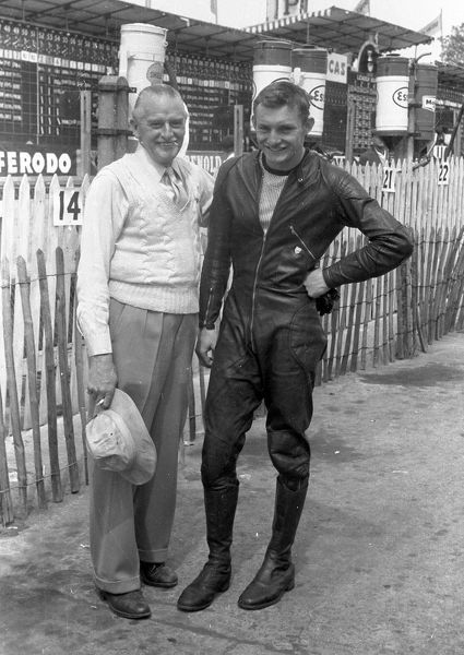 Mike's first TT. Stan and Mike Hailwood, 1958 TT