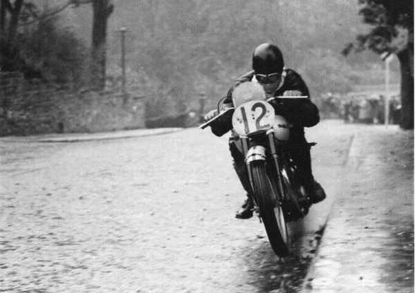Ernie Lyons (Triumph) leaves Governors Bridge on his way to winning the 1946 Senior Manx Grand Prix