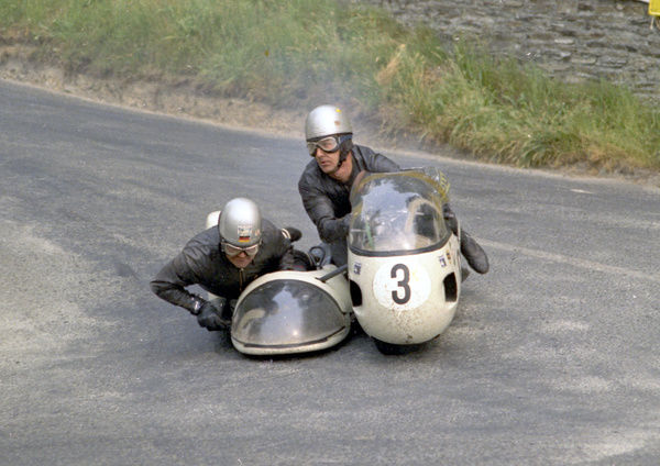 Horst Owesle and Julius Kremer at Governors Bridge: 1970 500 Sidecar TT
