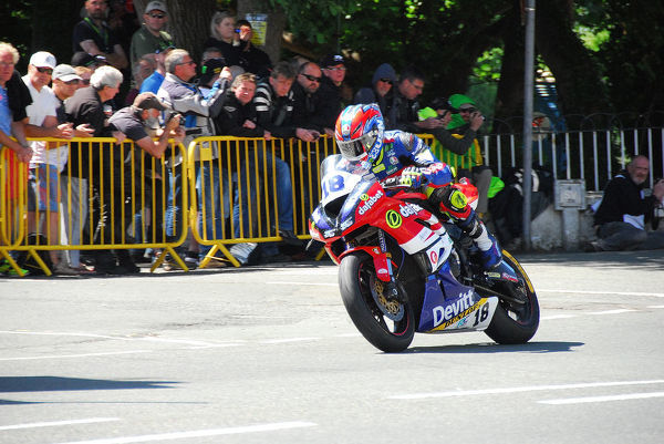 Ivan Lintin (Kawasaki) leaves Ballaugh Bridge: 2018 Supersport TT