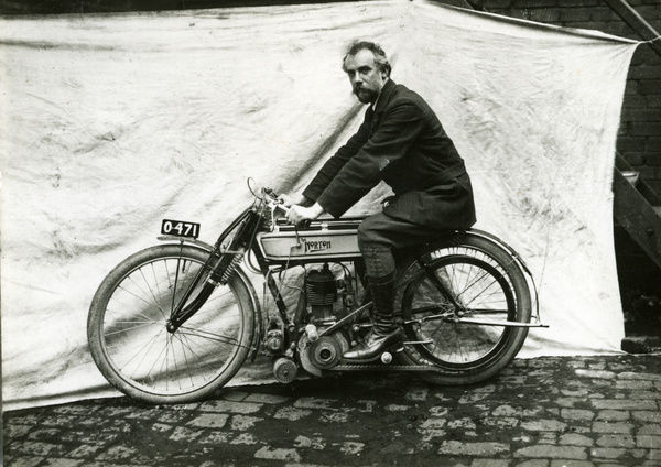 "James Lansdowne 'Pa"" Norton, founder of the mighty Norton company, rode his own machinery in the TT for two years, but without success. He is seen here with his 1909 TT mount"
