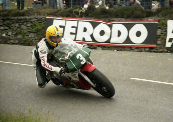 Known as a big-bike rider, Joey Dunlop won the Junior TT on this RS 250 Honda. But only after Brian Reid had run out of fuel at Hillberry on the last lap