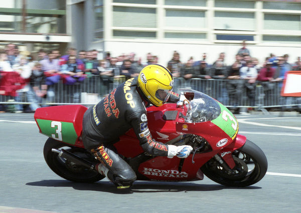 Riding a finely-tuned RS 250 to perfection, Joey Dunlop took top honours in the 1996 Lightweight 250 TT
