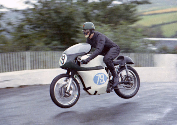 John Sear (AJS) on Ballaugh Bridge: 1967 Junior Manx Grand Prix