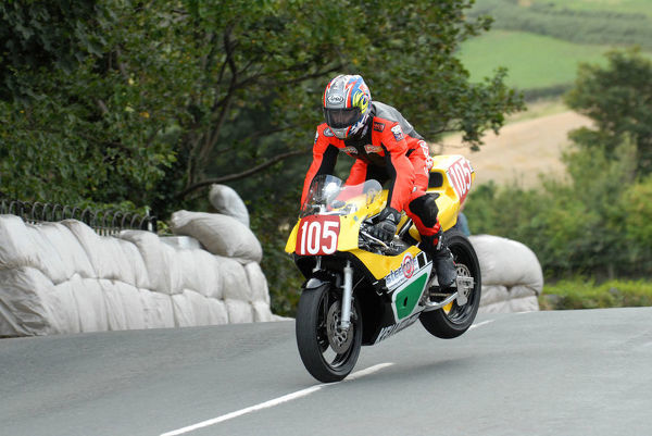 Kevin Main (Yamaha) on Ballaugh Bridge: 2009 Post Classic Manx Grand Prix