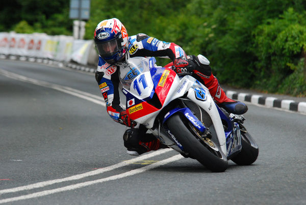 Tower Bend action for Gary Johnson, who took his Honda to his first TT victory