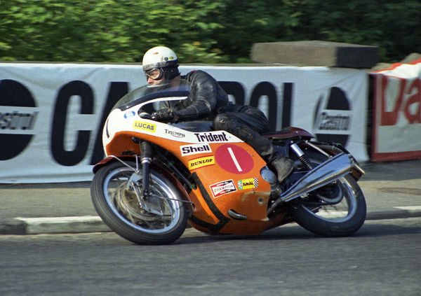 After winning the previous year on a Bonneville, Malcolm Uphill gave the Triumph Trident its maiden victory in the 1970 Production TT
