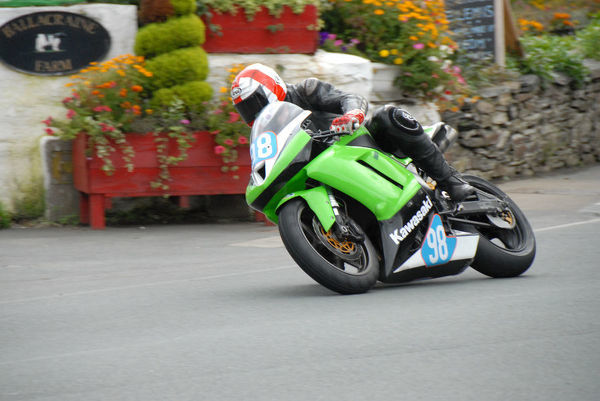Mark Parbury (Kawasaki) at Ballacraine: 2009 Junior Manx Grand Prix