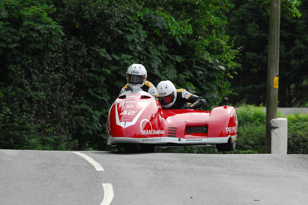 Michael Jackson & Harry Payne (Suzuki DMR) on Ballaugh Bridge: 2018 Sidecar TT