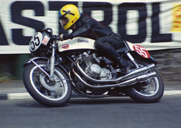 Pete Crew (Honda) leaves Governors Bridge: 1974 Production TT