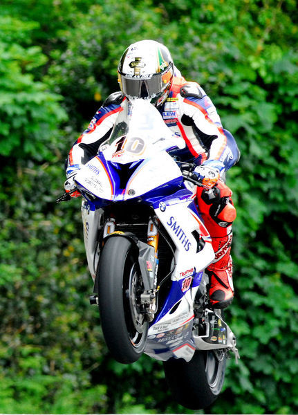 Peter Hickman (BMW) on Ballaugh Bridge: 2018 Senior TT
