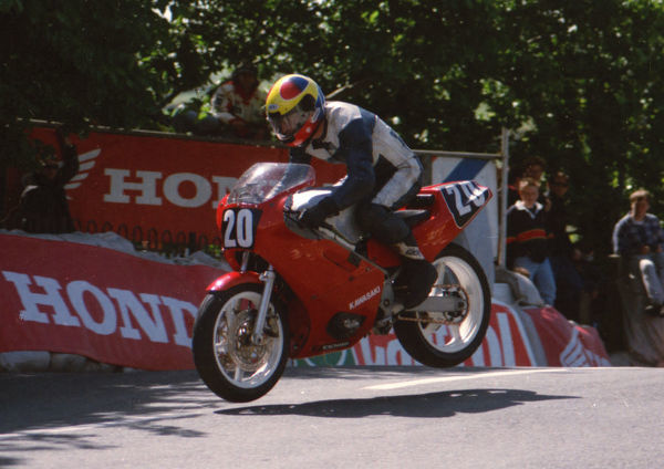 Robert Price (Kawasaki) on Ballaugh Bridge: 1994 Singles TT