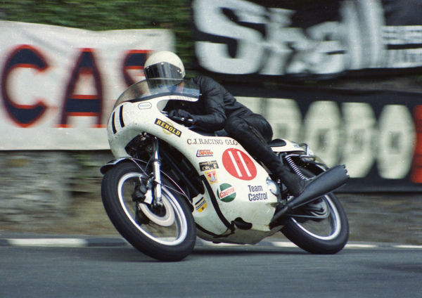 Roger Corbett (Triumph) leaves Governors Bridge: 1974 Production TT
