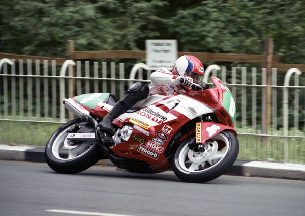 Steve Hislop takes his CBR 600 Honda through Braddan Bridge n his way to one of his hat-trick of 1989 TT wins
