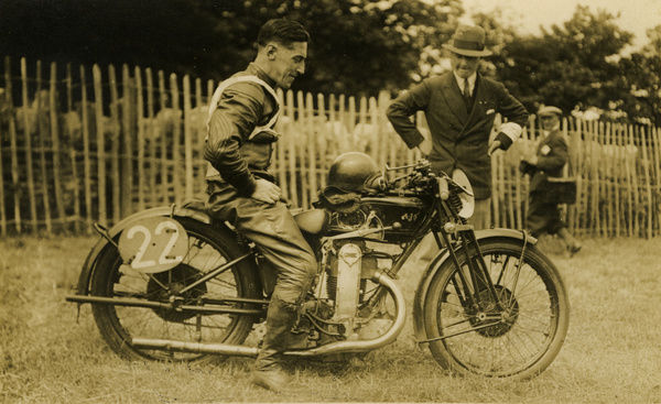 Wal Handley looks well pleased with his second place in the 1929 Junior TT. He won TTs on Rex Acme and Rudge. Note the interesting leading-link front fork on his cammy AJS