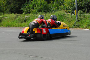 David Lillie & Ben Chandler (DMR Yamaha) spinning at Castletown