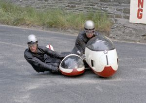Klaus Enders at Governors Bridge: 1970 500 Sidecar TT