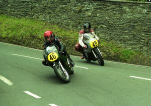 Marc Michot (Petty Manx) and Geoff Sawyer (Matchless) 2000 Senior Classic Manx Grand Prix
