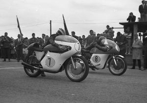 Phil Read (Gilera) and Alan Shepherd (Kirby Matchless) 1963 Senior TT