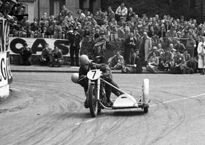 Ted Young & E Milton (Triumph) 1954 Sidecar TT